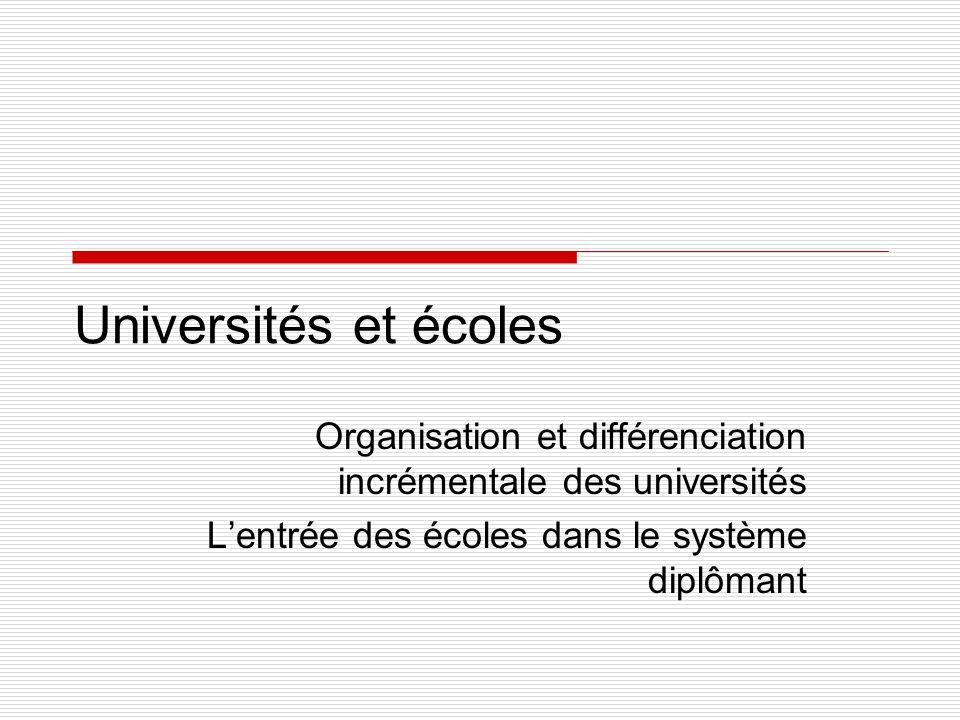 Universités et écoles Organisation et différenciation incrémentale des universités Lentrée des écoles dans le système diplômant