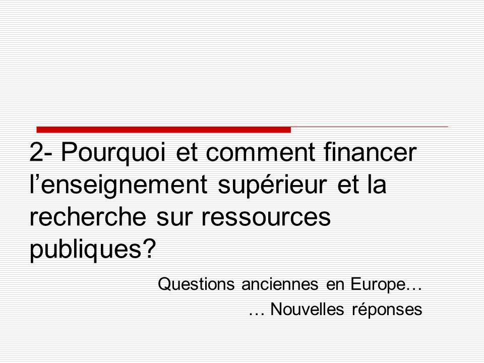 2- Pourquoi et comment financer lenseignement supérieur et la recherche sur ressources publiques.