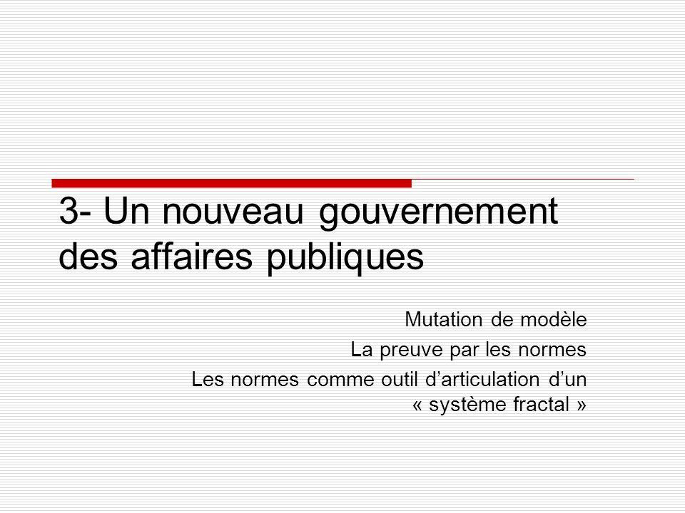 3- Un nouveau gouvernement des affaires publiques Mutation de modèle La preuve par les normes Les normes comme outil darticulation dun « système fractal »