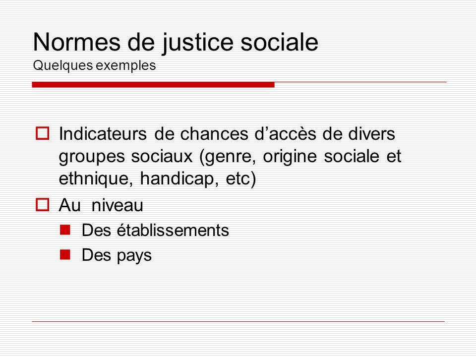 Normes de justice sociale Quelques exemples Indicateurs de chances daccès de divers groupes sociaux (genre, origine sociale et ethnique, handicap, etc) Au niveau Des établissements Des pays
