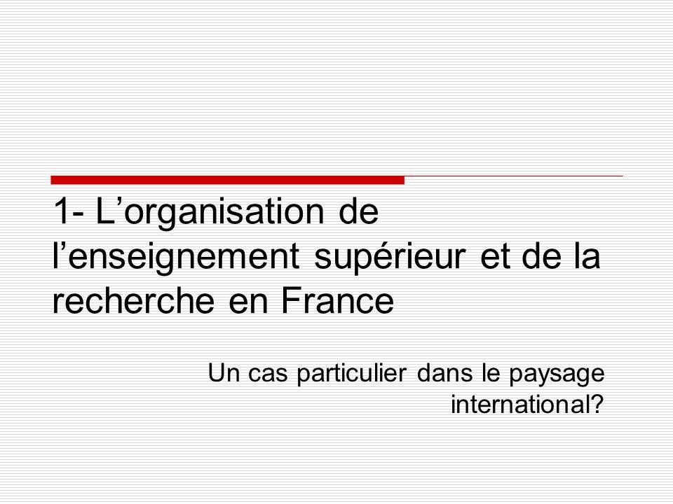 1- Lorganisation de lenseignement supérieur et de la recherche en France Un cas particulier dans le paysage international