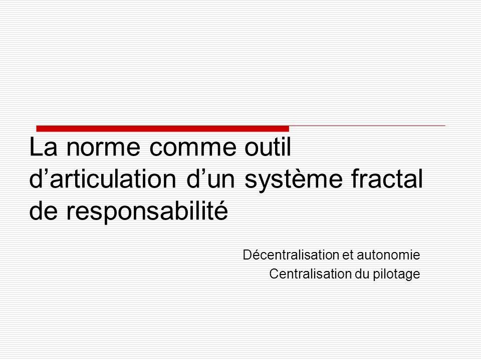 La norme comme outil darticulation dun système fractal de responsabilité Décentralisation et autonomie Centralisation du pilotage