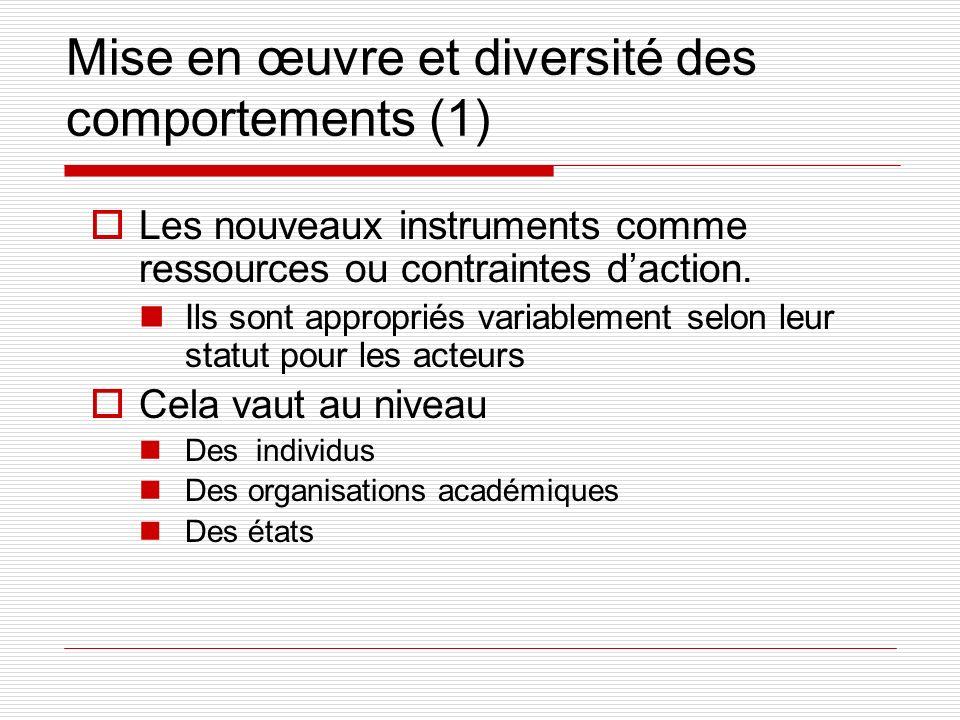 Mise en œuvre et diversité des comportements (1) Les nouveaux instruments comme ressources ou contraintes daction.
