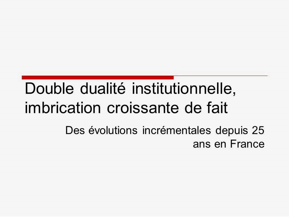 Double dualité institutionnelle, imbrication croissante de fait Des évolutions incrémentales depuis 25 ans en France