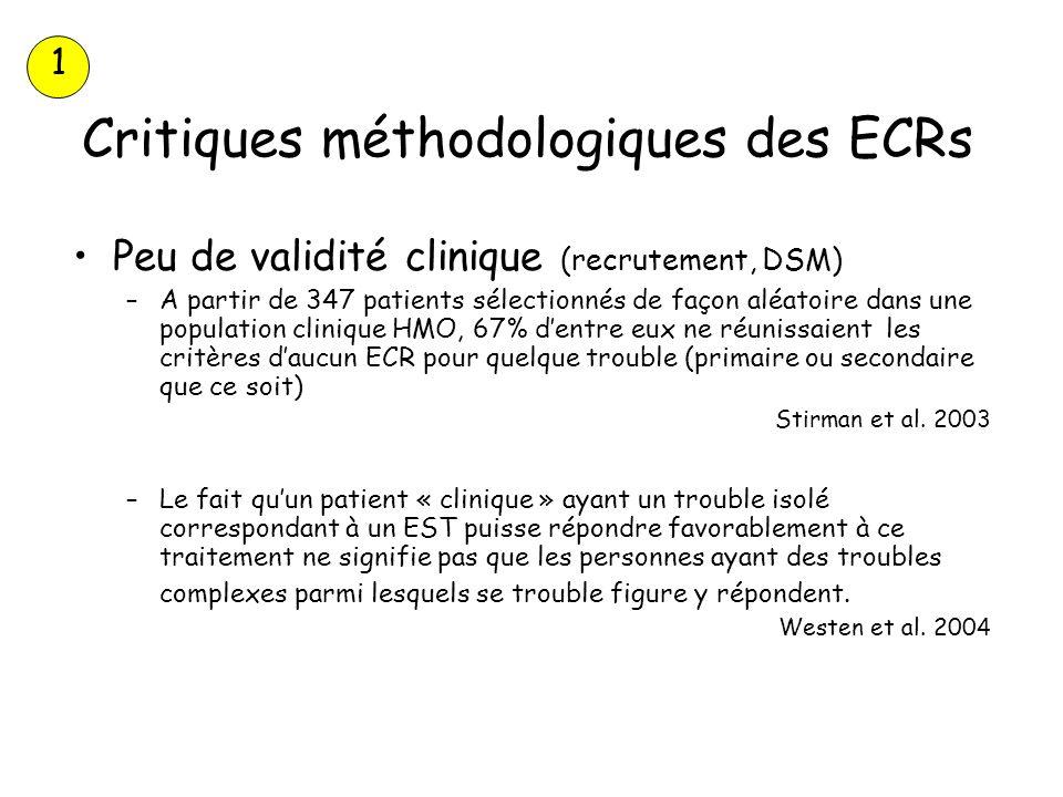 Critiques méthodologiques des ECRs Peu de validité clinique (recrutement, DSM) –A partir de 347 patients sélectionnés de façon aléatoire dans une popu