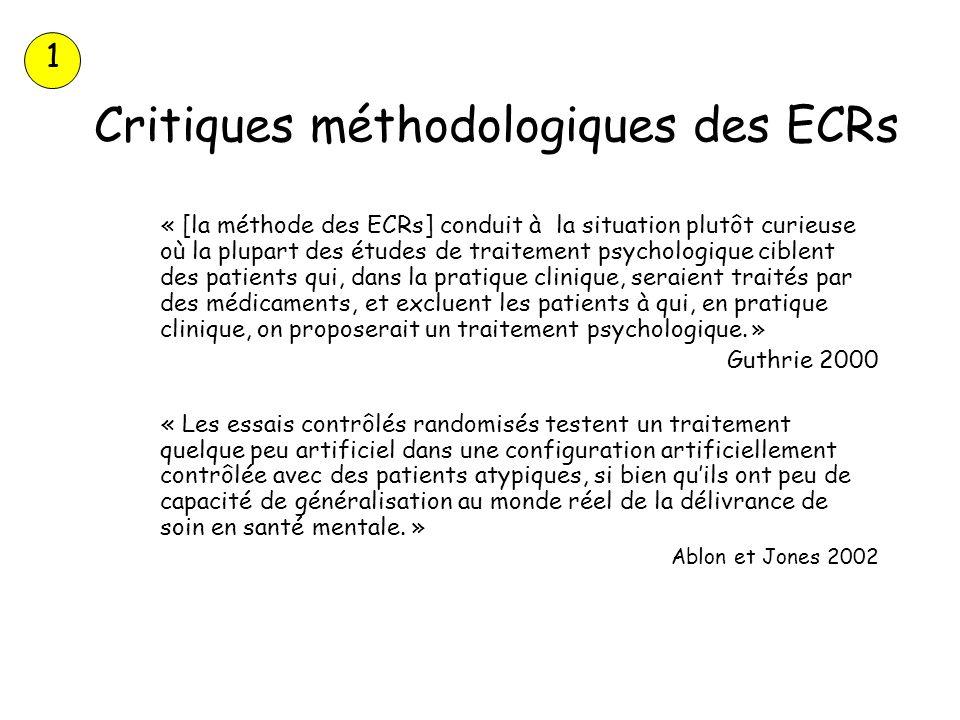 Critiques méthodologiques des ECRs « [la méthode des ECRs] conduit à la situation plutôt curieuse où la plupart des études de traitement psychologique