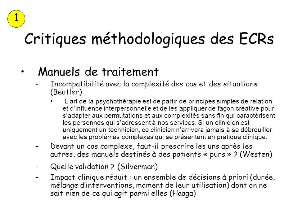 Critiques méthodologiques des ECRs Manuels de traitement –Incompatibilité avec la complexité des cas et des situations (Beutler) Lart de la psychothér