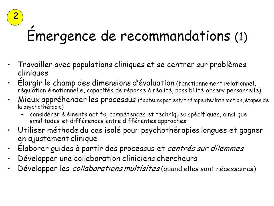 Émergence de recommandations (1) Travailler avec populations cliniques et se centrer sur problèmes cliniques Élargir le champ des dimensions dévaluati