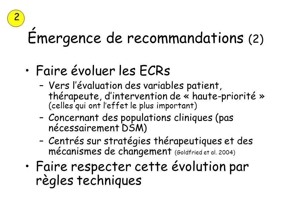 Émergence de recommandations (2) Faire évoluer les ECRs –Vers lévaluation des variables patient, thérapeute, dintervention de « haute-priorité » (cell