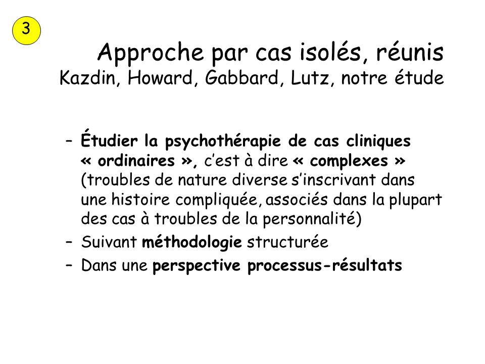 Approche par cas isolés, réunis Kazdin, Howard, Gabbard, Lutz, notre étude –Étudier la psychothérapie de cas cliniques « ordinaires », cest à dire « c