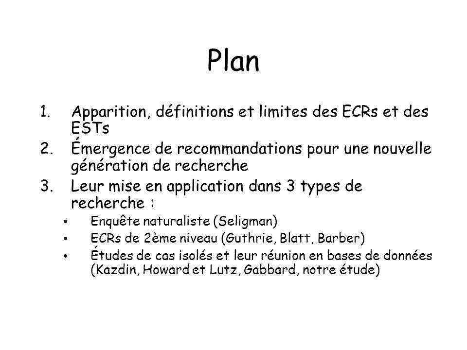 Plan 1.Apparition, définitions et limites des ECRs et des ESTs 2.Émergence de recommandations pour une nouvelle génération de recherche 3.Leur mise en