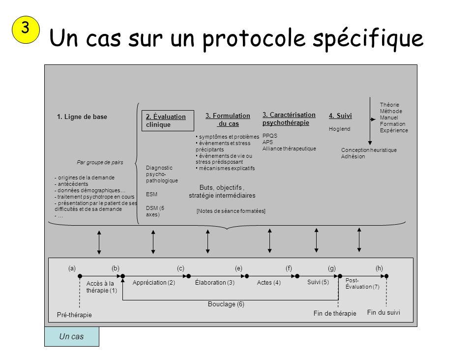 Un cas sur un protocole spécifique Un cas Appréciation (2)Élaboration (3)Actes (4) Théorie Méthode Manuel Formation Expérience Suivi (5) Post- Évaluat