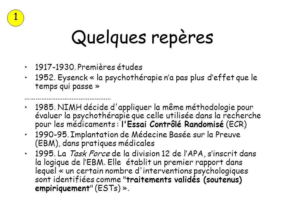 Quelques repères 1917-1930. Premières études 1952. Eysenck « la psychothérapie na pas plus deffet que le temps qui passe » ………………………………………… 1985. NIMH