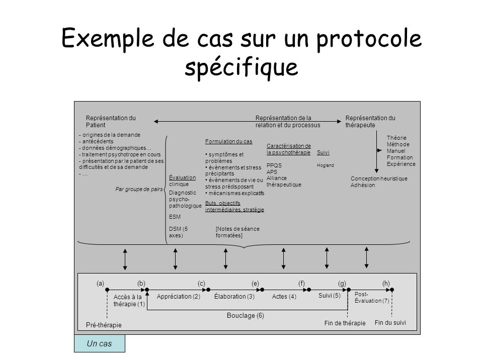 Exemple de cas sur un protocole spécifique Un cas Appréciation (2)Élaboration (3)Actes (4) Théorie Méthode Manuel Formation Expérience Suivi (5) Post-