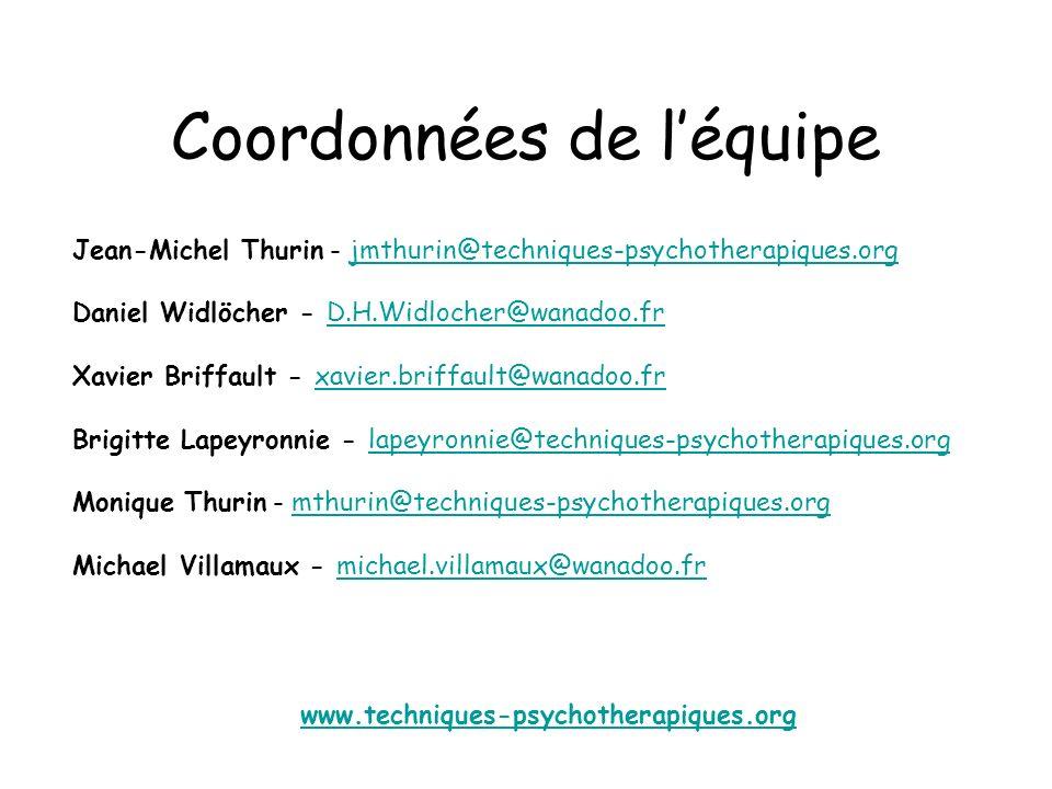 Coordonnées de léquipe Jean-Michel Thurin - jmthurin@techniques-psychotherapiques.orgjmthurin@techniques-psychotherapiques.org Daniel Widlöcher - D.H.