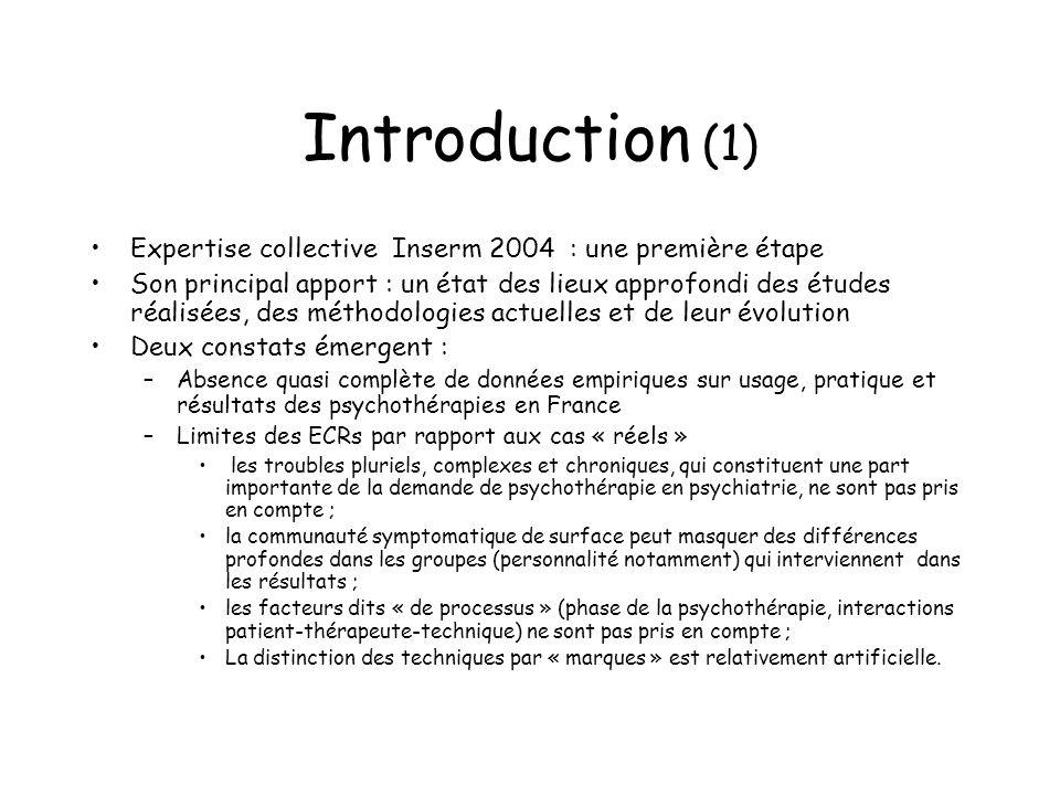 Introduction (1) Expertise collective Inserm 2004 : une première étape Son principal apport : un état des lieux approfondi des études réalisées, des m