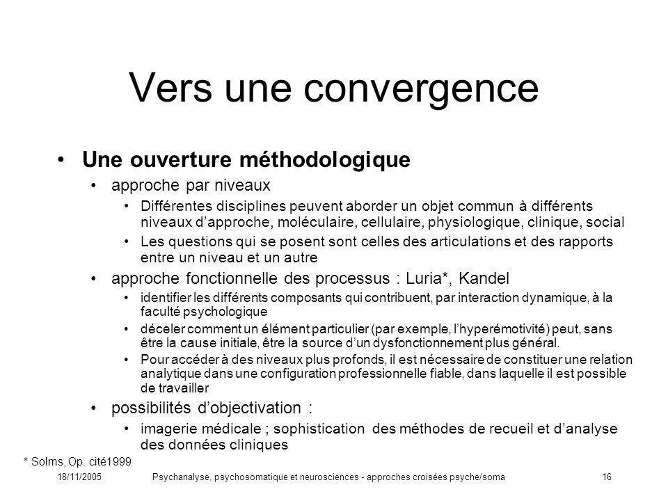 18/11/2005Psychanalyse, psychosomatique et neurosciences - approches croisées psyche/soma16 Vers une convergence Une ouverture méthodologique approche