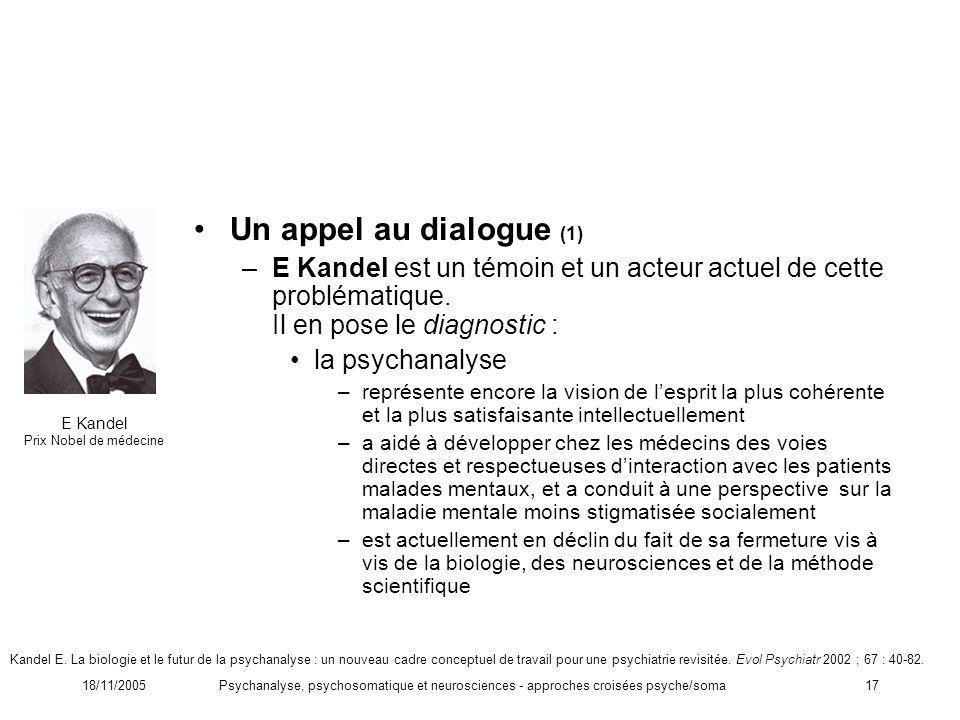 18/11/2005Psychanalyse, psychosomatique et neurosciences - approches croisées psyche/soma17 Un appel au dialogue (1) –E Kandel est un témoin et un act