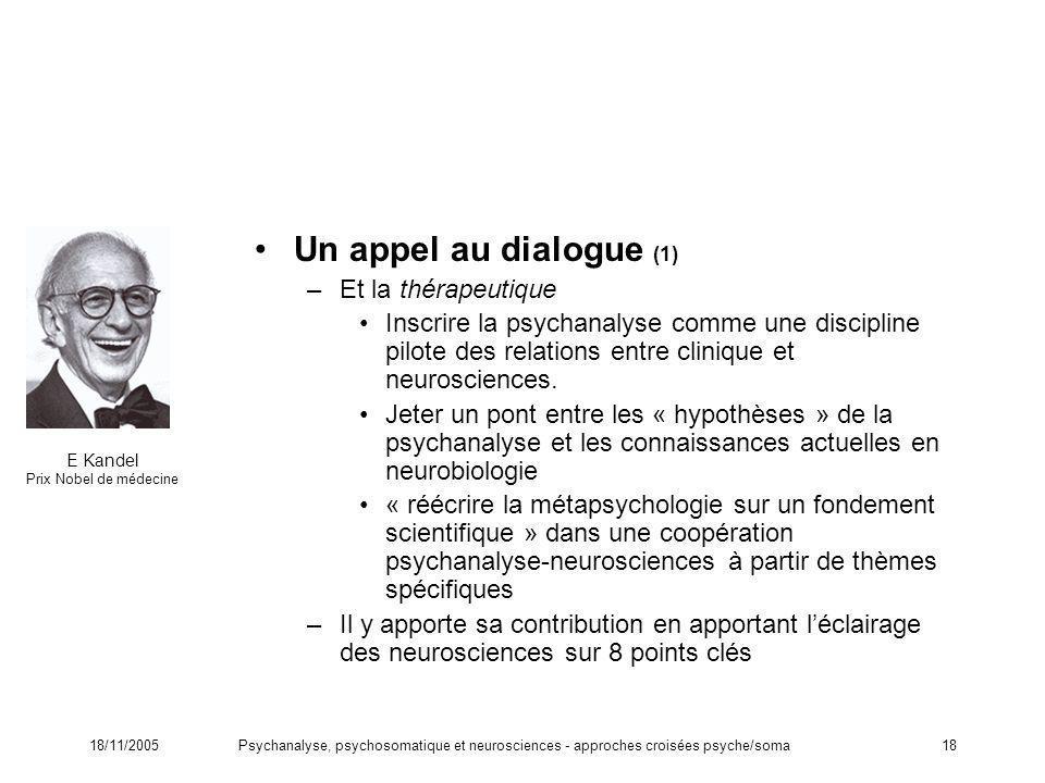 18/11/2005Psychanalyse, psychosomatique et neurosciences - approches croisées psyche/soma18 Un appel au dialogue (1) –Et la thérapeutique Inscrire la