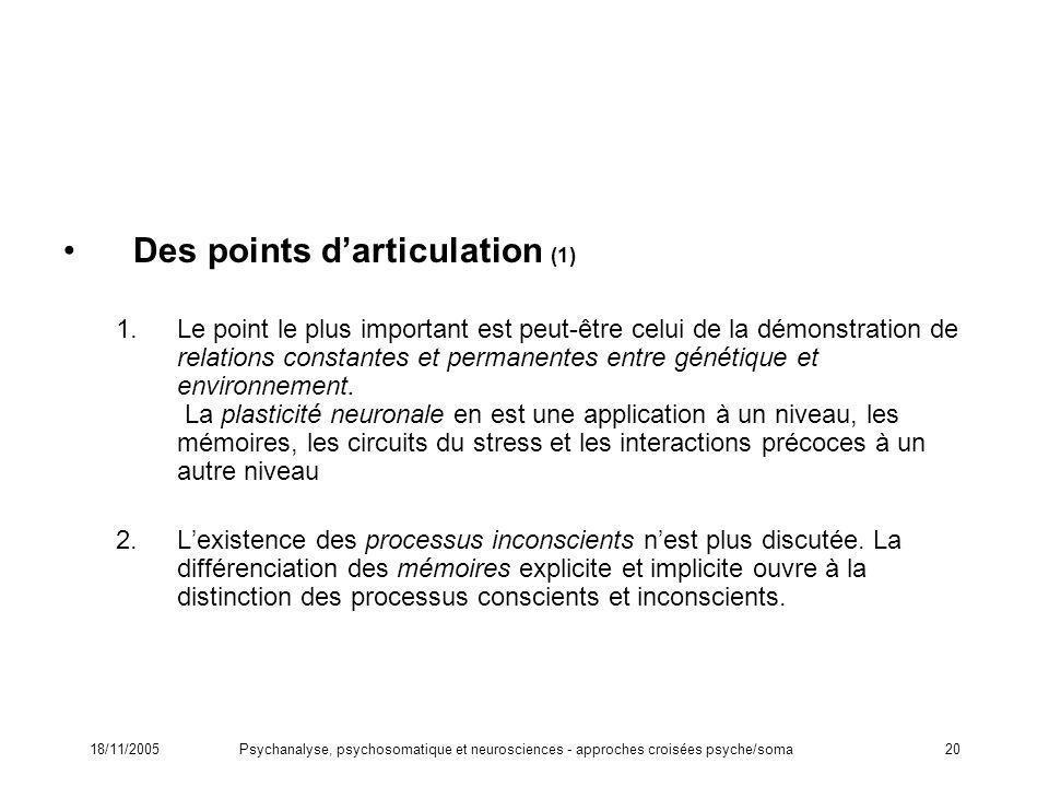 18/11/2005Psychanalyse, psychosomatique et neurosciences - approches croisées psyche/soma20 Des points darticulation (1) 1.Le point le plus important