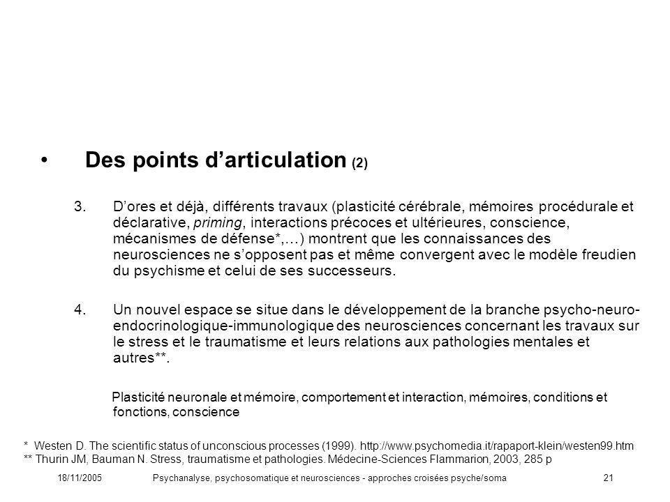 18/11/2005Psychanalyse, psychosomatique et neurosciences - approches croisées psyche/soma21 Des points darticulation (2) 3.Dores et déjà, différents t