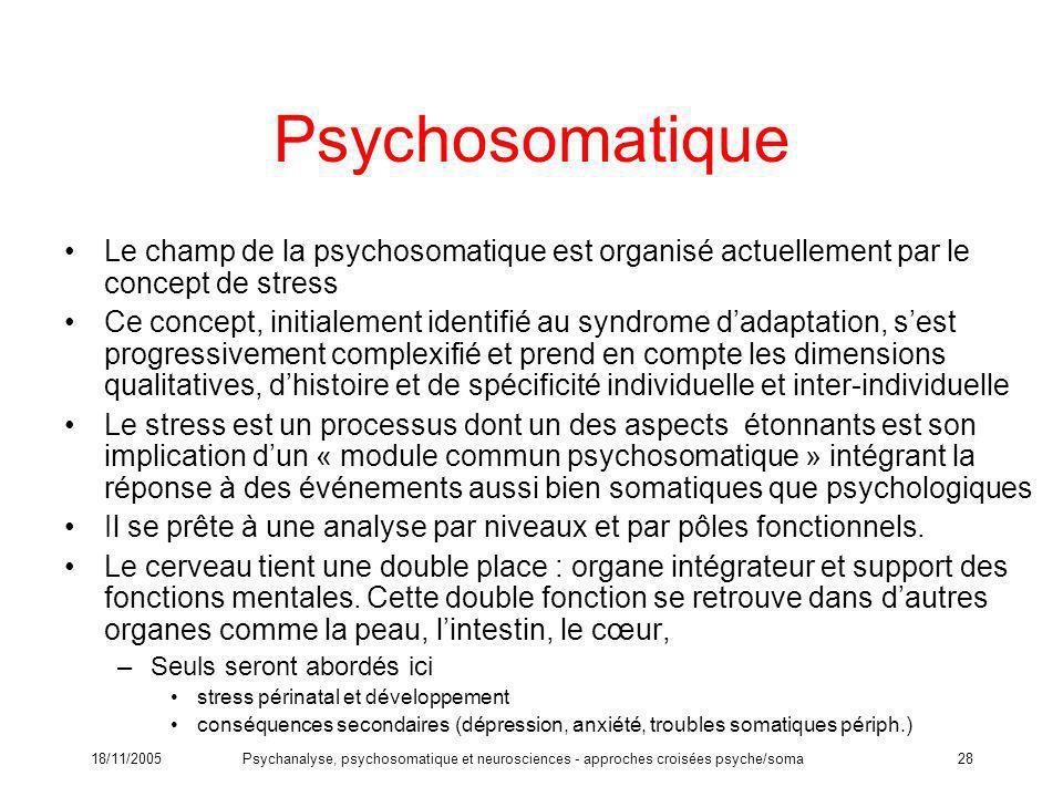 18/11/2005Psychanalyse, psychosomatique et neurosciences - approches croisées psyche/soma28 Psychosomatique Le champ de la psychosomatique est organis