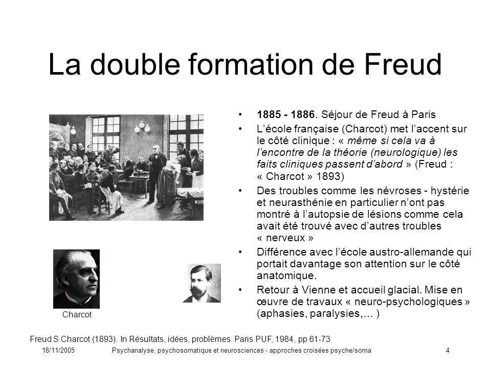 18/11/2005Psychanalyse, psychosomatique et neurosciences - approches croisées psyche/soma4 La double formation de Freud 1885 - 1886. Séjour de Freud à