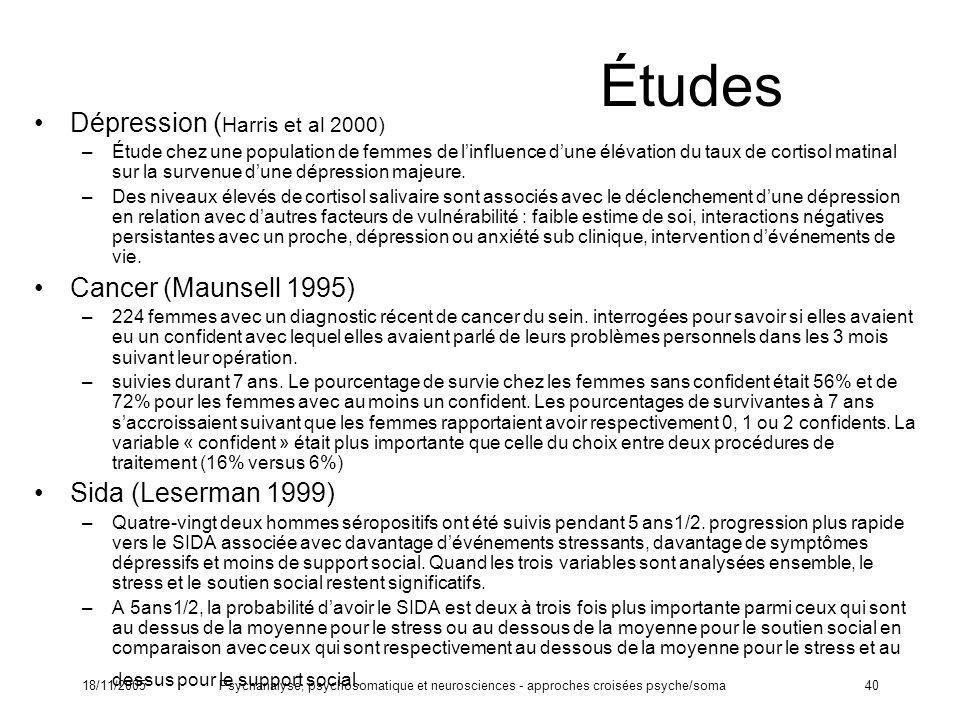 18/11/2005Psychanalyse, psychosomatique et neurosciences - approches croisées psyche/soma40 Études Dépression ( Harris et al 2000) –Étude chez une pop