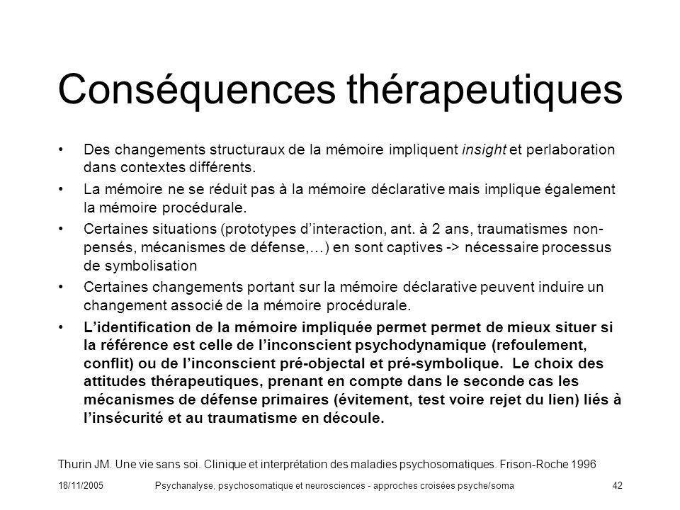 18/11/2005Psychanalyse, psychosomatique et neurosciences - approches croisées psyche/soma42 Conséquences thérapeutiques Des changements structuraux de