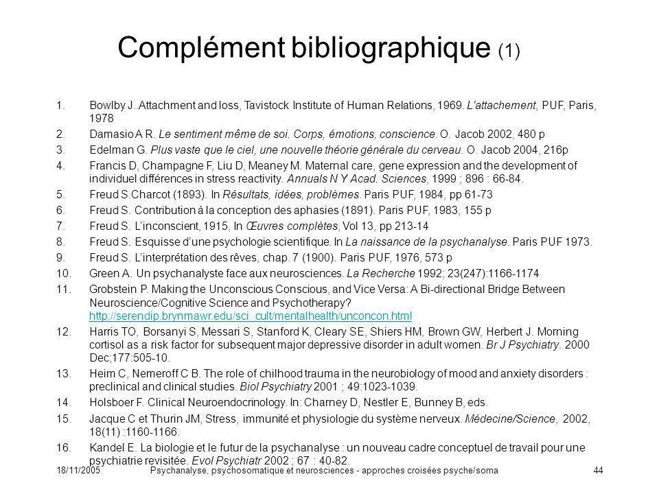18/11/2005Psychanalyse, psychosomatique et neurosciences - approches croisées psyche/soma44 Complément bibliographique (1) 1.Bowlby J..Attachment and
