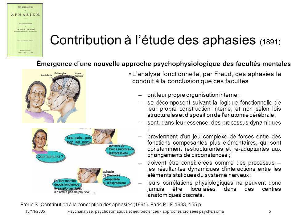 18/11/2005Psychanalyse, psychosomatique et neurosciences - approches croisées psyche/soma5 Contribution à létude des aphasies (1891) Lanalyse fonction