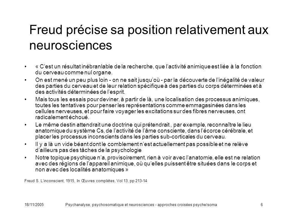 18/11/2005Psychanalyse, psychosomatique et neurosciences - approches croisées psyche/soma6 Freud précise sa position relativement aux neurosciences «