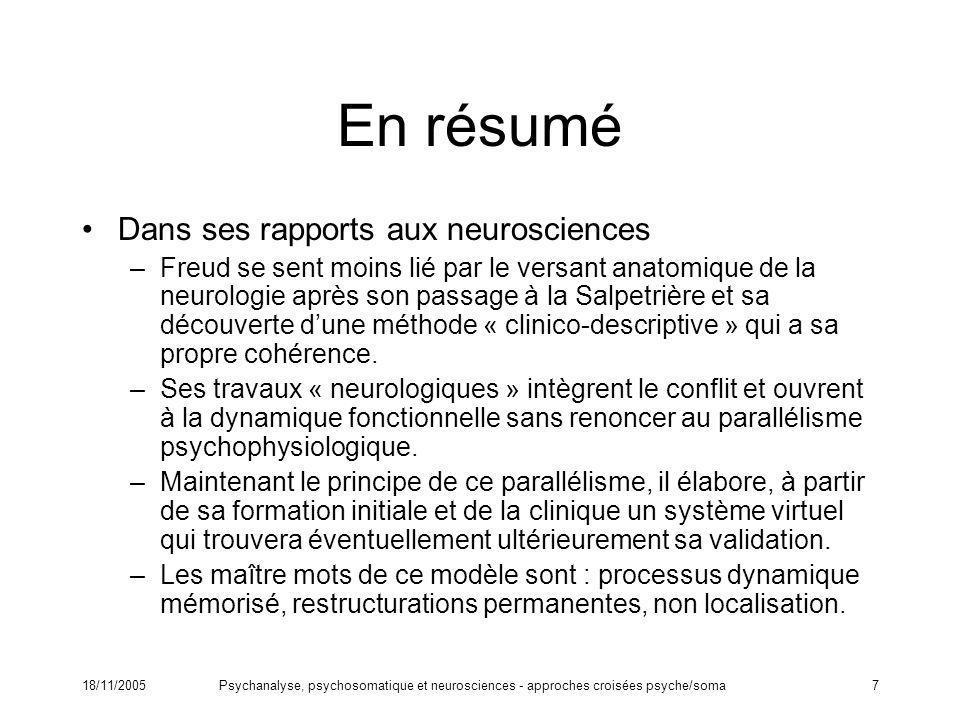 18/11/2005Psychanalyse, psychosomatique et neurosciences - approches croisées psyche/soma7 En résumé Dans ses rapports aux neurosciences –Freud se sen