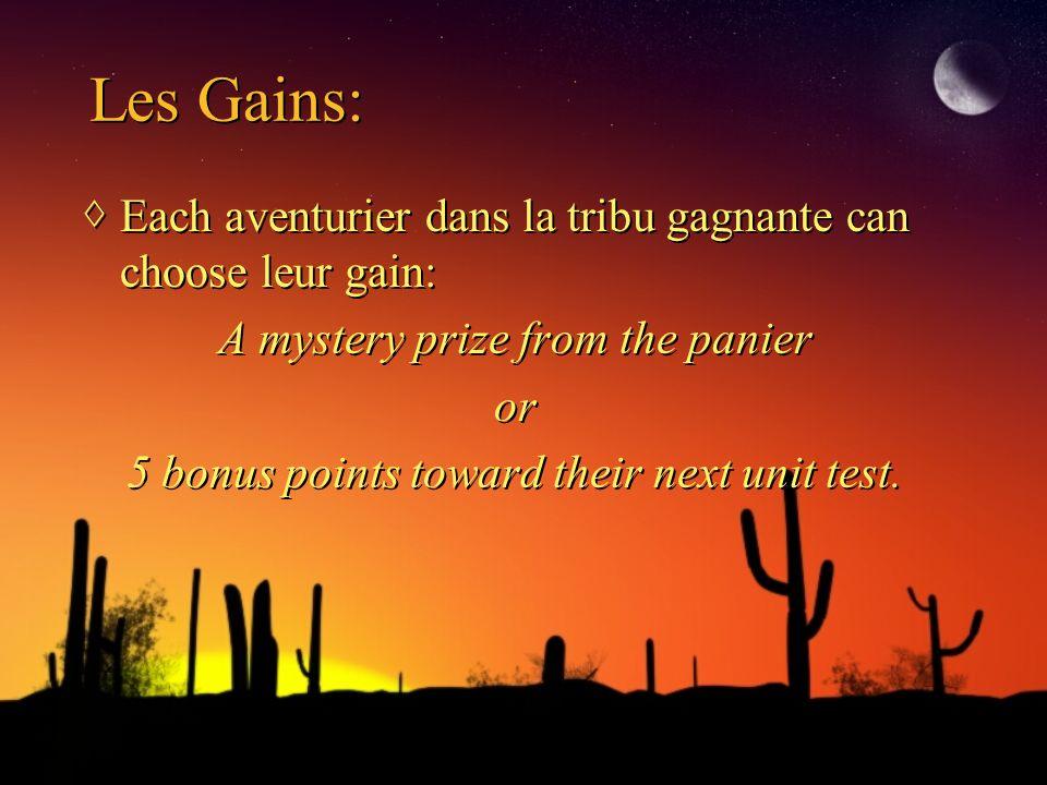 Les Gains: Each aventurier dans la tribu gagnante can choose leur gain: A mystery prize from the panier or 5 bonus points toward their next unit test.