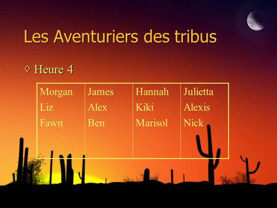 Les Aventuriers des tribus Heure 4 Morgan Liz Fawn James Alex Ben Hannah Kiki Marisol Julietta Alexis Nick