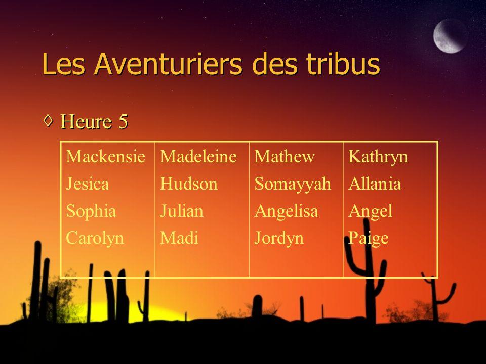 Les Aventuriers des tribus Heure 5 Mackensie Jesica Sophia Carolyn Madeleine Hudson Julian Madi Mathew Somayyah Angelisa Jordyn Kathryn Allania Angel Paige