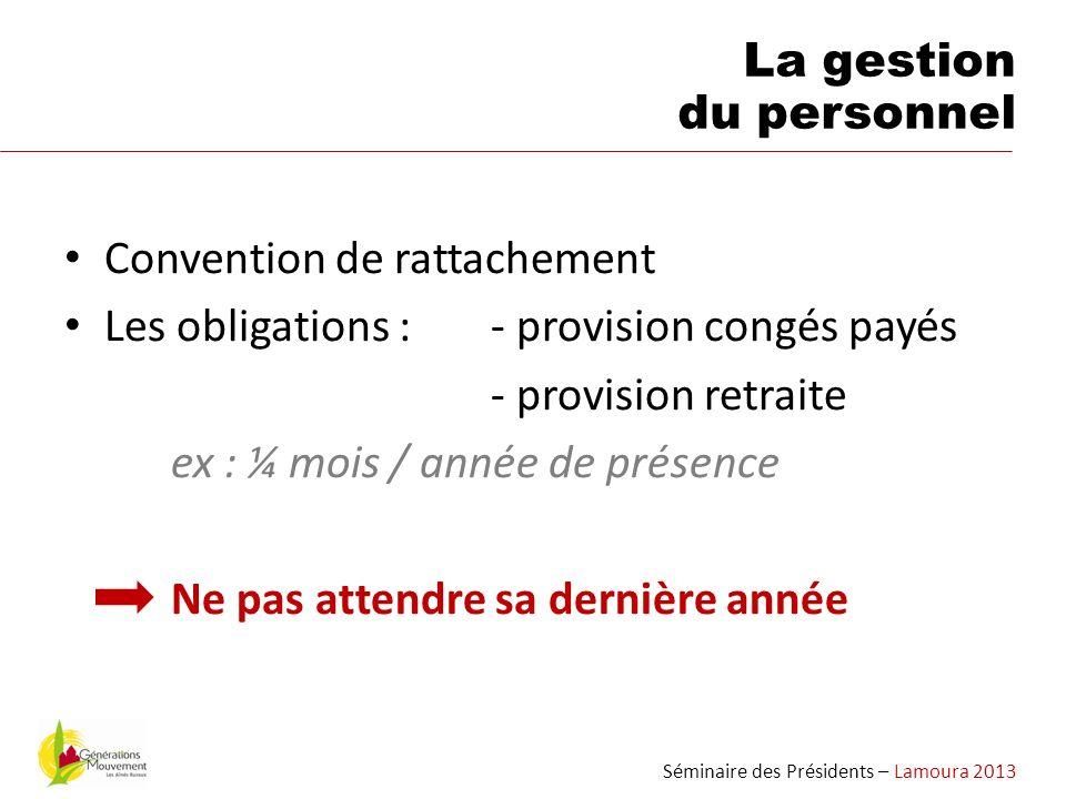 Convention de rattachement Les obligations :- provision congés payés - provision retraite ex : ¼ mois / année de présence Ne pas attendre sa dernière