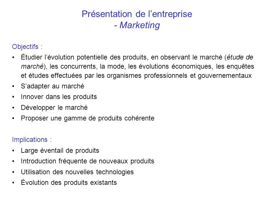Présentation de lentreprise - Marketing Objectifs : Étudier lévolution potentielle des produits, en observant le marché (étude de marché), les concurr