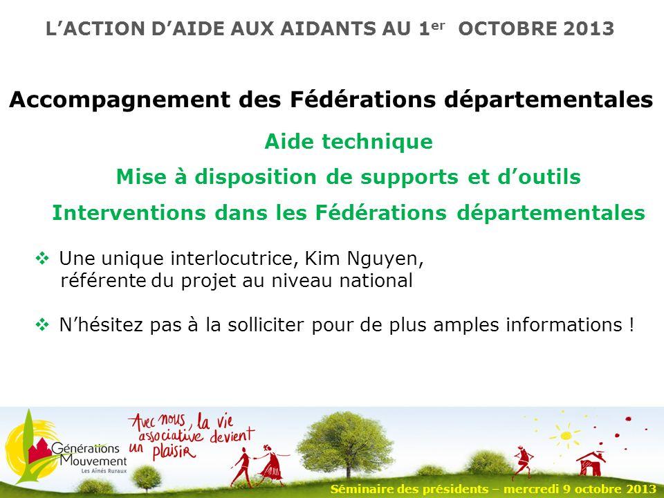 12 Accompagnement des Fédérations départementales Une unique interlocutrice, Kim Nguyen, référente du projet au niveau national Nhésitez pas à la solliciter pour de plus amples informations .