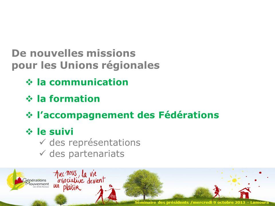 Séminaire des présidents /mercredi 9 octobre 2013 - Lamoura De nouvelles missions pour les Unions régionales la communication la formation laccompagnement des Fédérations le suivi des représentations des partenariats