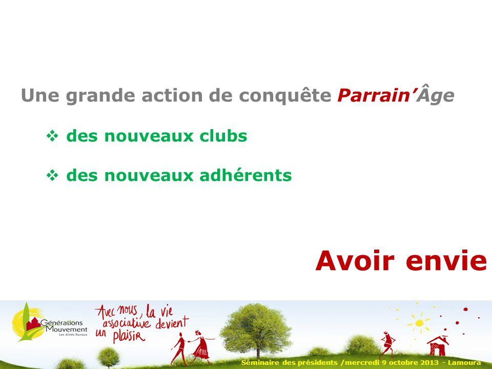 Séminaire des présidents /mercredi 9 octobre 2013 - Lamoura Une grande action de conquête ParrainÂge des nouveaux clubs des nouveaux adhérents Avoir envie