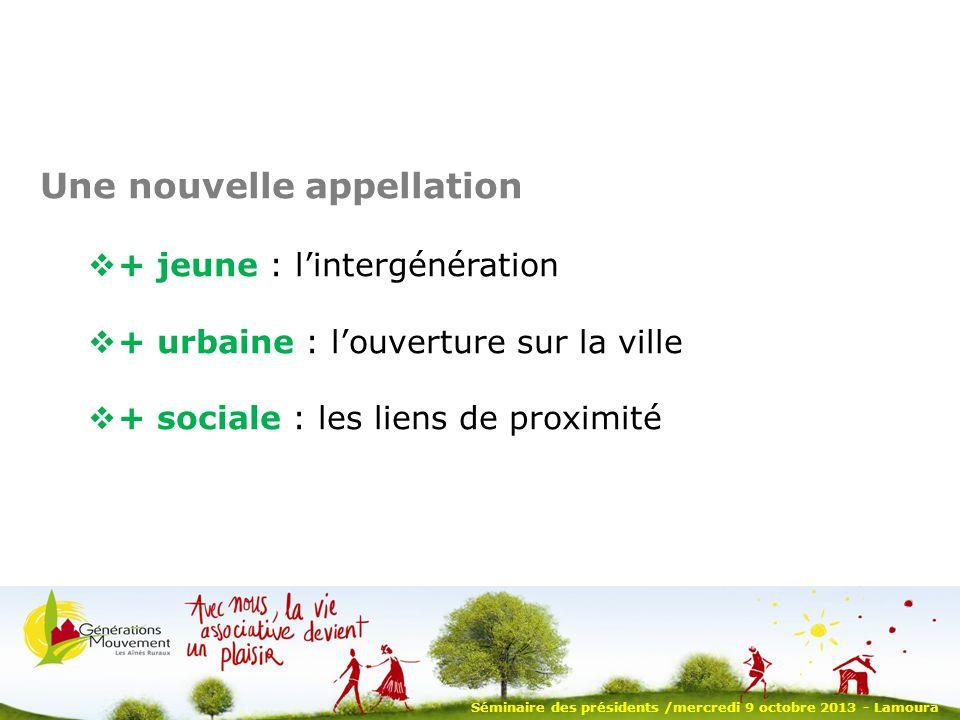 Une nouvelle appellation + jeune : lintergénération + urbaine : louverture sur la ville + sociale : les liens de proximité