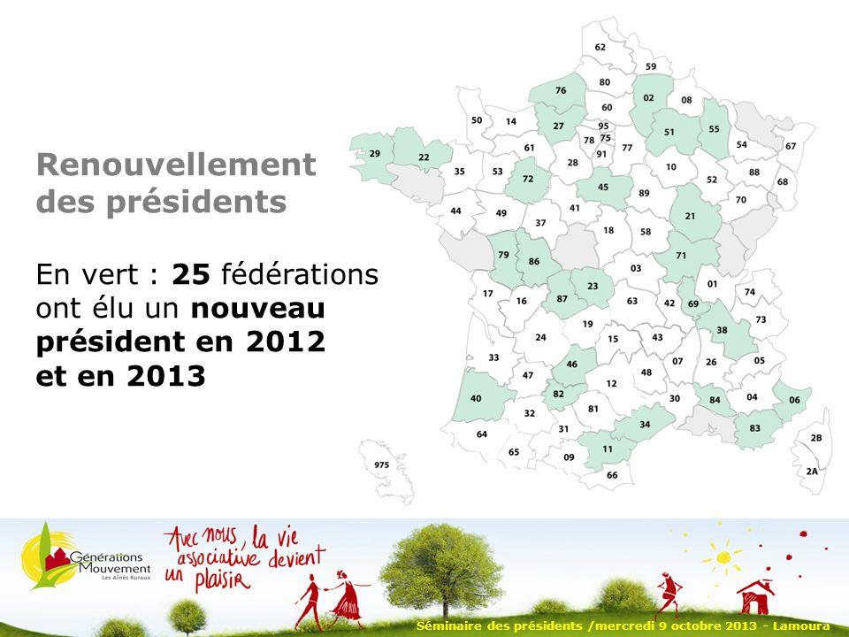 Séminaire des présidents /mercredi 9 octobre 2013 - Lamoura Renouvellement des présidents En vert : 25 fédérations ont élu un nouveau président en 2012 et en 2013