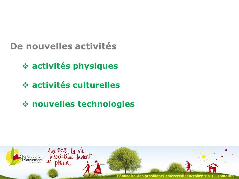 Séminaire des présidents /mercredi 9 octobre 2013 - Lamoura De nouvelles activités activités physiques activités culturelles nouvelles technologies