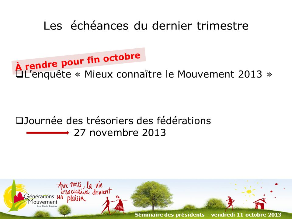 2 Le calendrier 2014 du Mouvement Manifestations nationales Journées nationales à Périgueux (15 – 18 avril) Séminaire des présidents (14 - 17 octobre) Séminaire des présidents – vendredi 11 octobre 2013