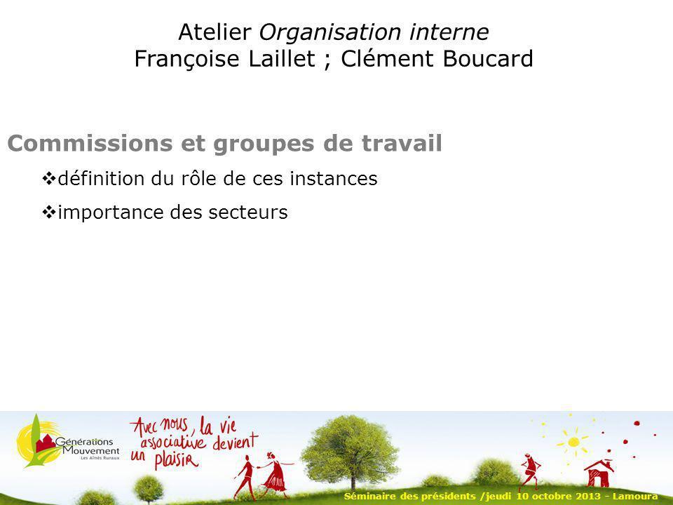 Séminaire des présidents /jeudi 10 octobre 2013 - Lamoura Atelier Organisation interne Françoise Laillet ; Clément Boucard Commissions et groupes de t