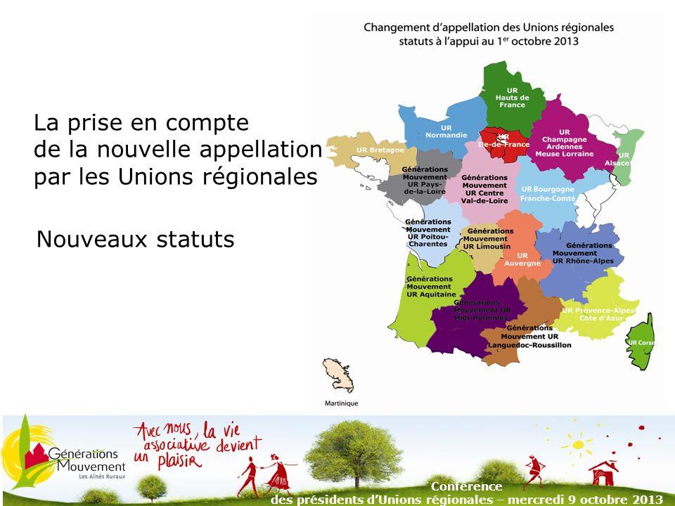 3 Nouveaux statuts Conférence des présidents dUnions régionales – mercredi 9 octobre 2013 La prise en compte de la nouvelle appellation par les Unions régionales