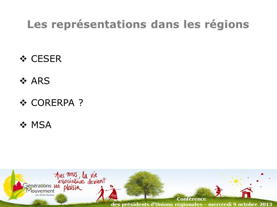 5 Les représentations dans les régions CESER ARS CORERPA .