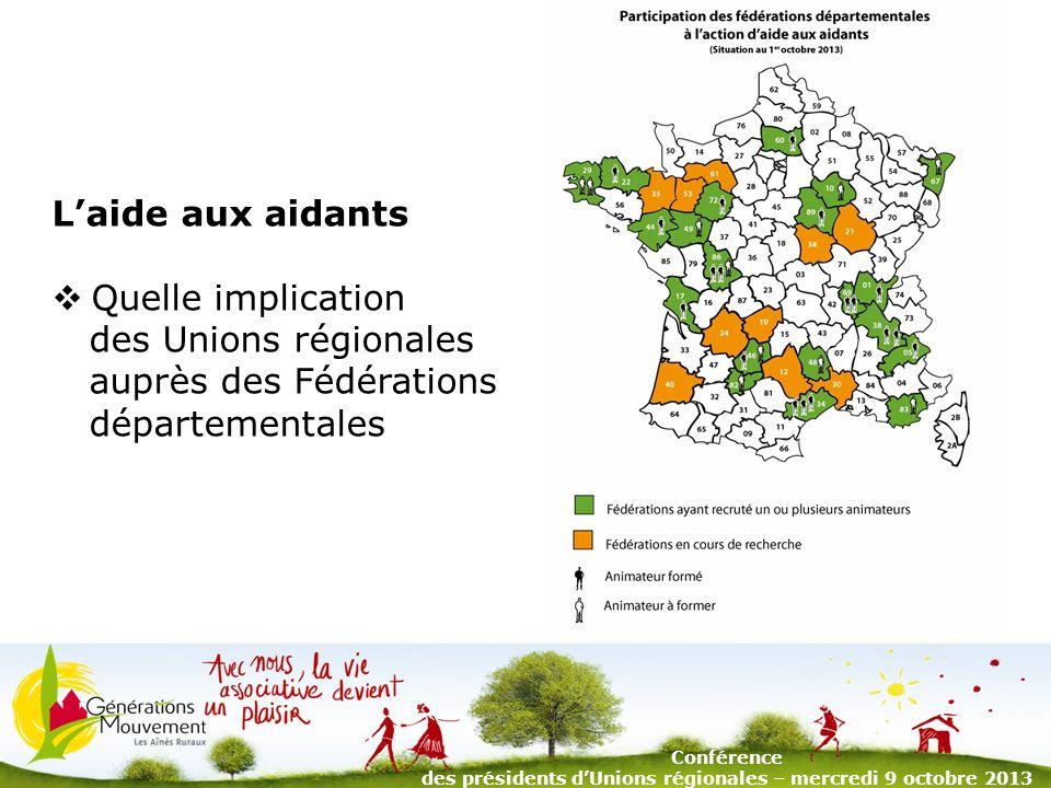 6 Laide aux aidants Quelle implication des Unions régionales auprès des Fédérations départementales Conférence des présidents dUnions régionales – mercredi 9 octobre 2013