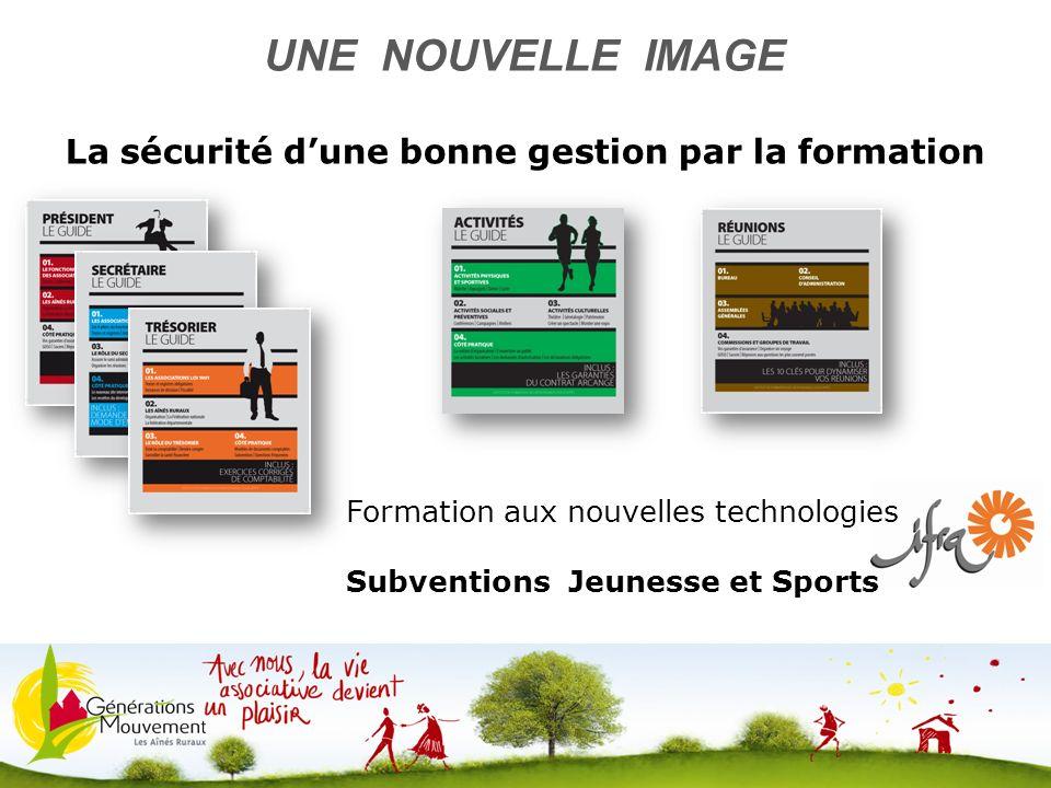 12 UNE NOUVELLE IMAGE La sécurité dune bonne gestion par la formation Formation aux nouvelles technologies Subventions Jeunesse et Sports